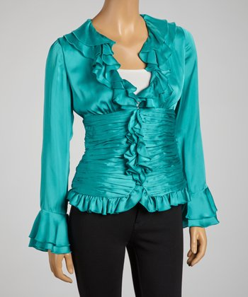 Turquoise Plisse Pleat Zip-Up Top