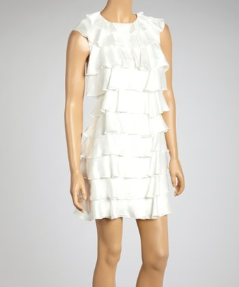 Ivory Tiered Ruffle Dress