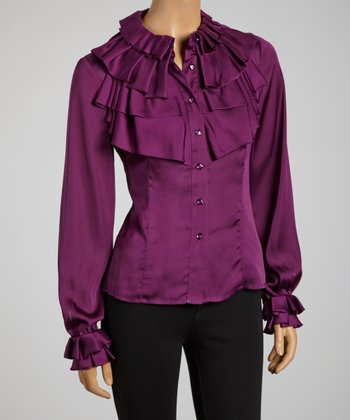 Aubergine Tiered Ruffle Collar Button-Up