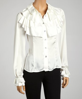Ivory Tiered Ruffle Collar Button-Up - Women