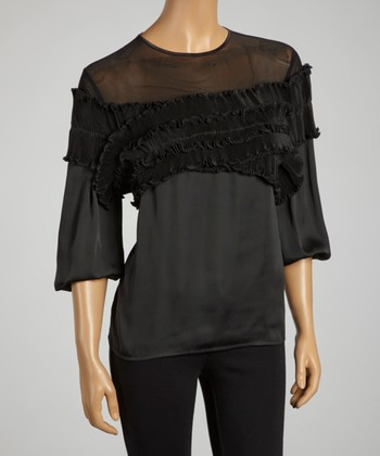Black Sheer Satin Ruffle Top