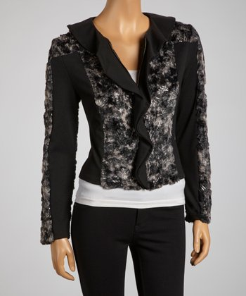 Black & Faux Fur Panel Ruffle Zip-Up Jacket