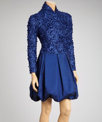 Midnight Blue Rosette Bubble Dress