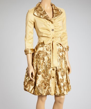 Honey Sequin Tie-Waist Button-Up Dress