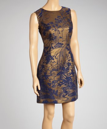 Navy & Gold Wool-Blend Sheath Dress