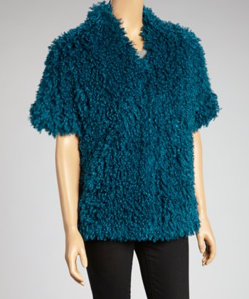 Teal Faux Fur Short-Sleeve Jacket