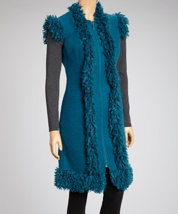 Teal Faux Fur Trim Zip-Up Wool-Blend Dress