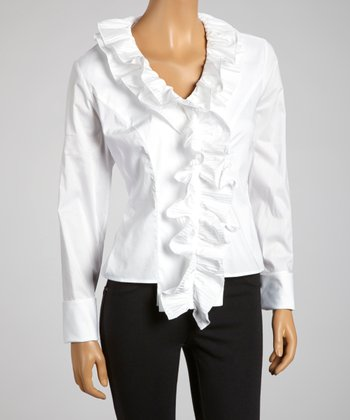 White Tiered Ruffle Collar Button-Up