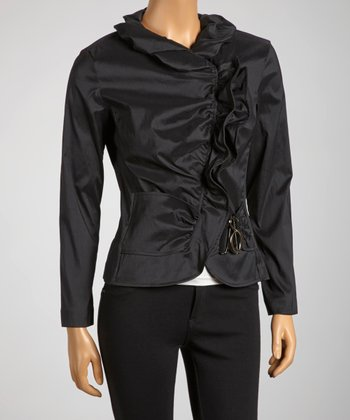 Black Ruffle Buckle Jacket - Women
