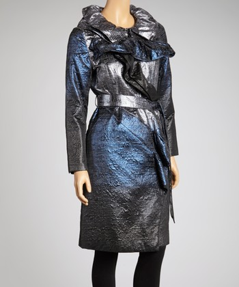 Midnight Blue & Silver Ombré Coat - Women