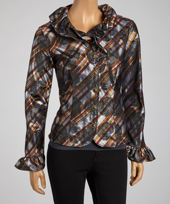 Orange & Silver Plaid Rose Jacket