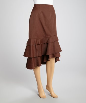 Brown Ruffle A-Line Skirt