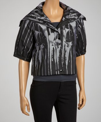 Black & Silver Abstract Tulip Funnel-Collar Cropped Jacket