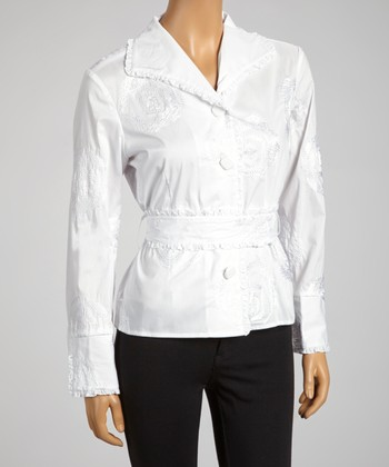 White Rose Embroidery Tie-Waist Button-Up