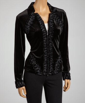 Black Rosette Velvet Zip-Up Top - Women