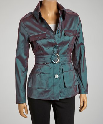 Teal Two-Tone Taffeta Safari Jacket