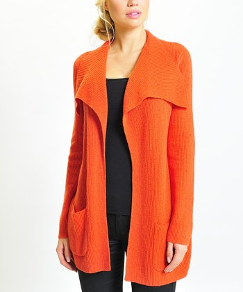 Orange Wool-Blend Open Cardigan