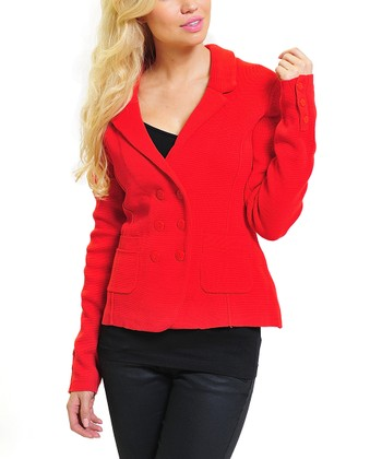 Red Double-Breasted Blazer - Women
