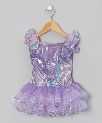 Purple Foil Skirted Leotard - Toddler & Girls