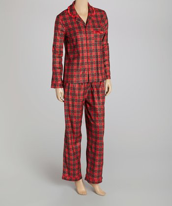 Red Plaid Pajama Set - Women