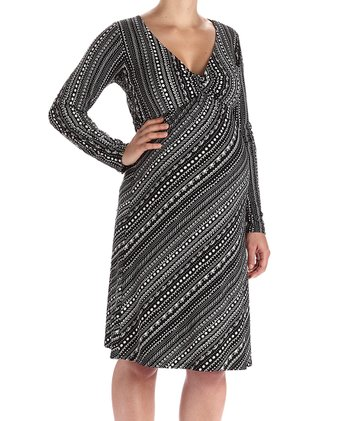 Black & Gray Long-Sleeve Maternity Dress