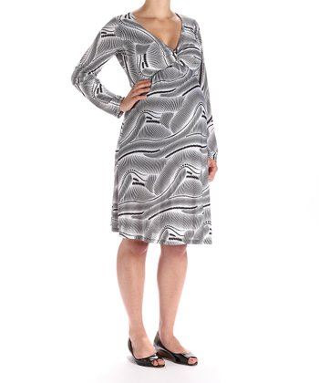 Gray Long-Sleeve Maternity Dress