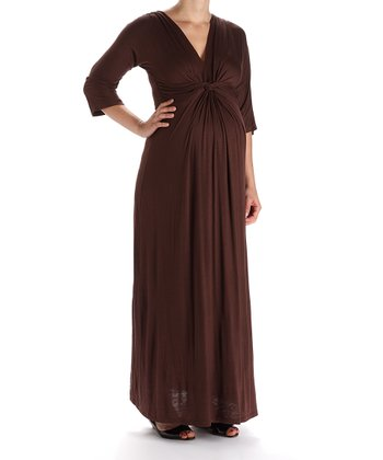 Brown Maxi Maternity Dress