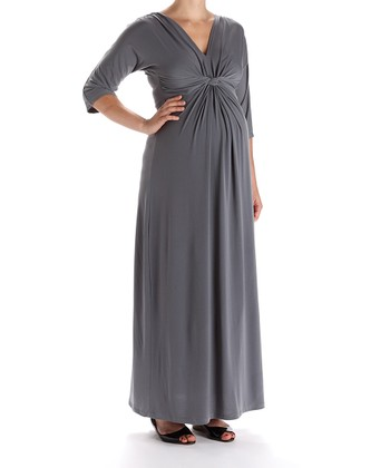 Gray Maxi Maternity Dress
