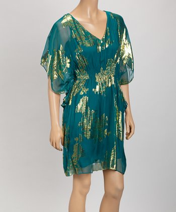 Teal & Gold Silk-Blend Cape-Sleeve Dress