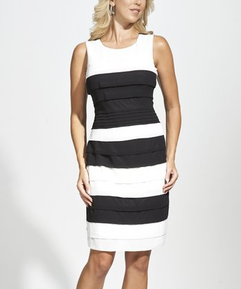 Black & White Tiered Sleeveless Dress - Women