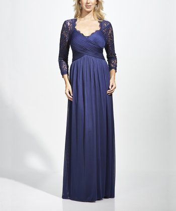 Navy Lace-Sleeve Maxi Dress - Women