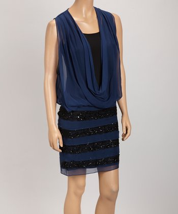 Navy & Black Sheer Drape Tiered Dress - Women