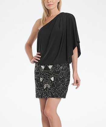 Black & Silver Sequin Asymmetrical Dress - Women
