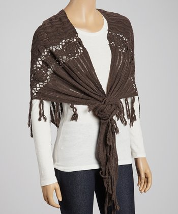 Brown Wool-Blend Shawl