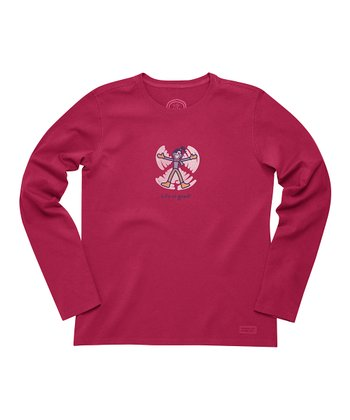 Cherry Red Jackie Snow Angel Crusher Long-Sleeve Tee - Women