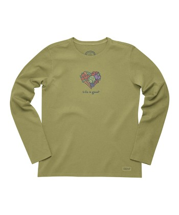 Retro Green Veggie Heart 'Life Is Good' Crusher Long-Sleeve Tee - Women