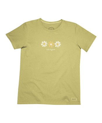Retro Green Daisies 'Life Is Good' Crusher Tee - Women