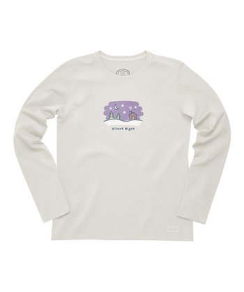Simple Ivory 'Silent Night' Crusher Long-Sleeve Tee - Women
