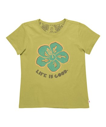 Retro Green Flower 'Life Is Good' Creamy Tee - Women