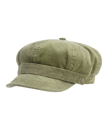 Olive Green Corduroy Newsboy Cap - Women