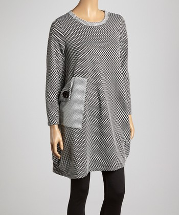 Black & White Polka Dot Asymmetrical Tunic - Women & Plus