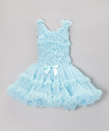 Blue Bow Ruffle Dress - Toddler & Girls