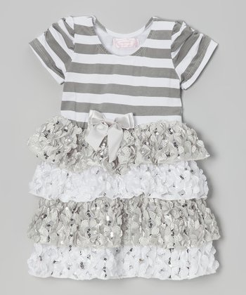 Silver Stripe Tiered Dress - Infant, Toddler & Girls