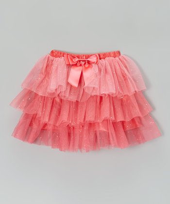 Peach Sparkle Tiered Skirt - Toddler & Girls