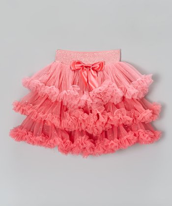 Peach Tiered Ruffle Skirt - Toddler & Girls