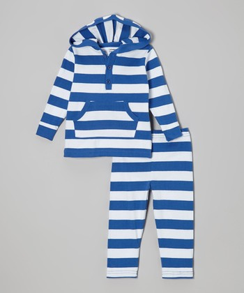 Blue & White Stripe Hooded Top & Pants - Infant, Toddler & Kids