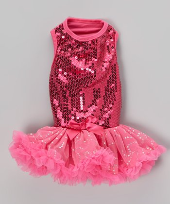 Fuchsia Sequin Dog Dress