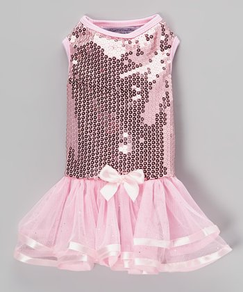 Pink Sequin Dog Dress