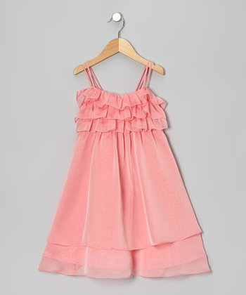Coral Flutter Dress - Toddler & Girls