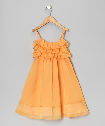 Orange Flutter Dress - Toddler & Girls